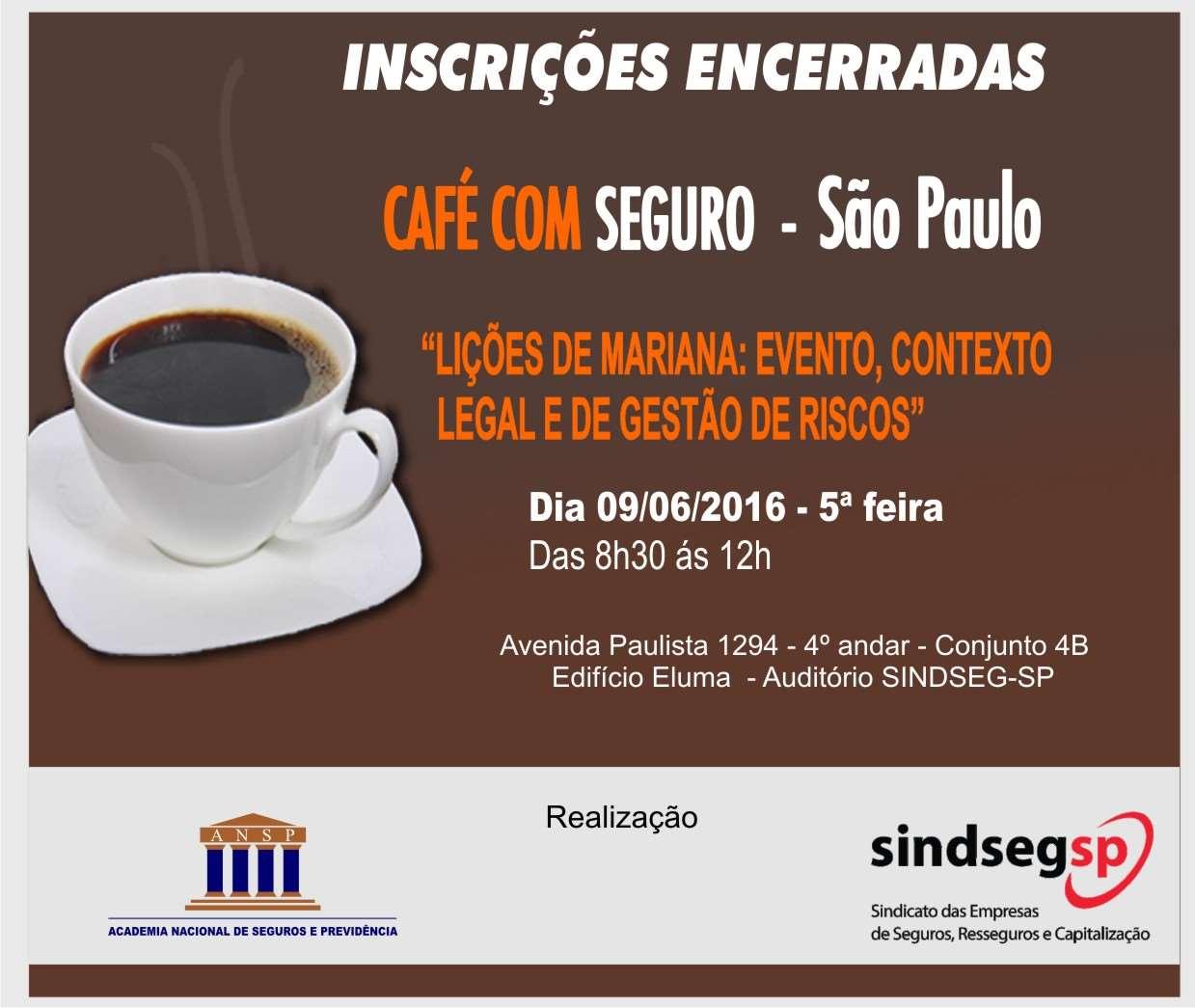 """Café com Seguro da ANSP debate """"Lições de Mariana: Evento, Contexto Legal e de Gestão de Riscos"""""""